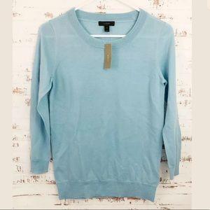 J Crew Women's Tippi Sweater 100% Wool Lt. Blue